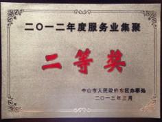 2012年度服务业集聚二等奖